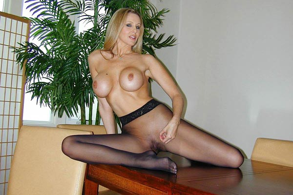 Make julia ann ejaculate for you. Julia Ann writhes in her pantyhose and encourages you to masturbate on her stunning legs and feet