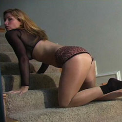 Heather in leopard print panties.