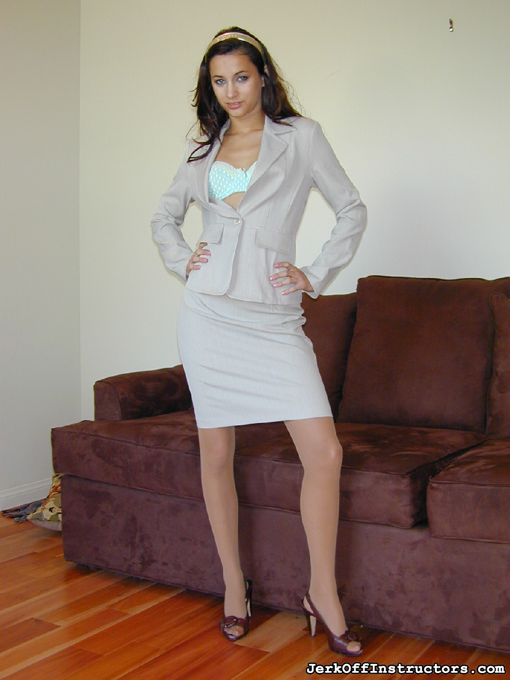 Georgia jones  suit 90. Georgia Jones' in a tight business suit, nude sheer to waist pantyhose with lots of sexual office games to set you off!