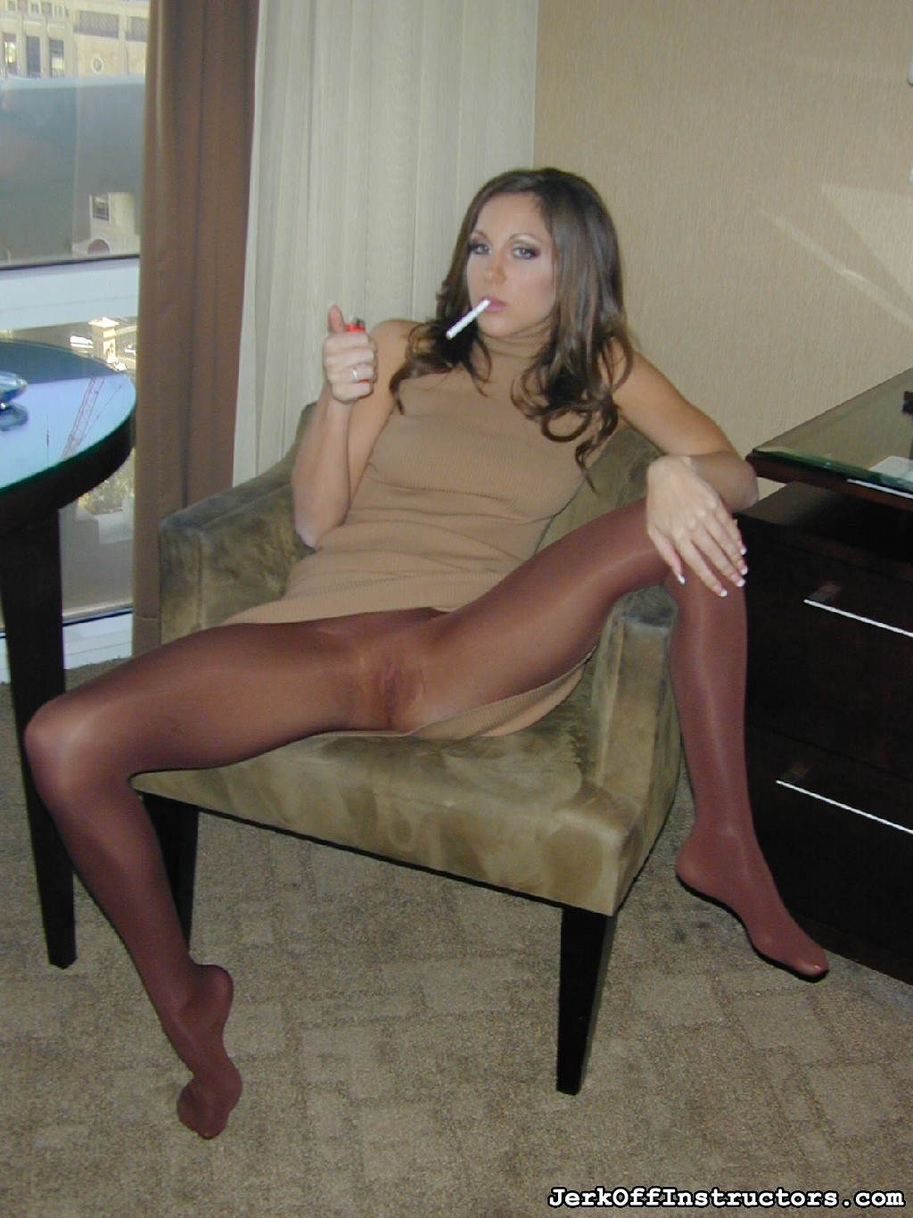 "Make love yourself for kiera king 71. Kiera King is a bad girl sitting in her chair with her legs open, smoking a cigarette and smoothing her hand over her thigh covered in soft shiny pantyhose. ""I want you to have intercourse that cock cruel for me."""