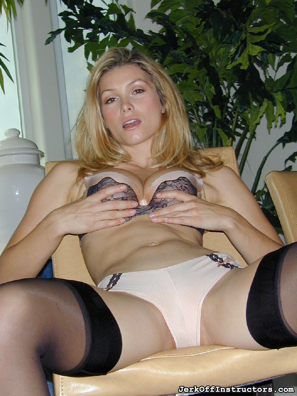 Nude bra amp panties 20. In tan nylon bikini panties and bra with black thigh highs, Heather Vandeven keeps you elegant by bending over and standing over you. She wants you to get a pretty look at what she brought you.